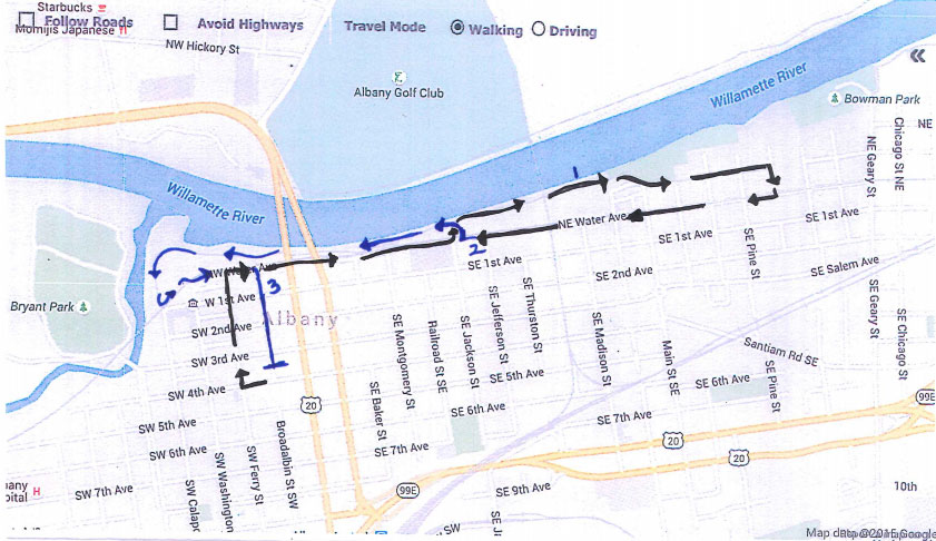 Walk starts at Linn County Courthouse, follows Ferry Street towards Water Avenure, goes East down Water Avenue, then merges to Dave Clark Trail at Jackson Street, then loops back onto Water Avenue, following that until crossing to Dave Clark Trail at Jackson again, and finishes at the start line after going down Broadalbin Street.